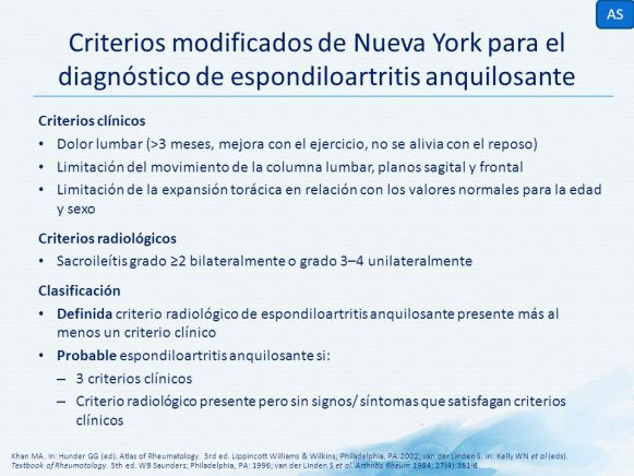 criterios diagnostico espondilitis